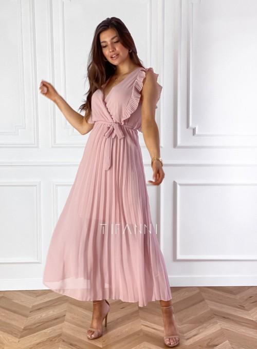 Długa plisowana sukienka Debra pudrowa 3
