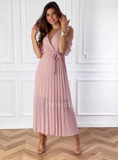Długa plisowana sukienka Debra pudrowa 4