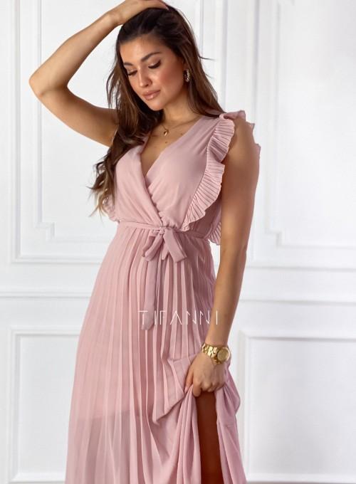 Długa plisowana sukienka Debra pudrowa 1