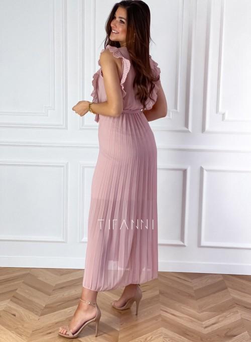 Długa plisowana sukienka Debra pudrowa 5