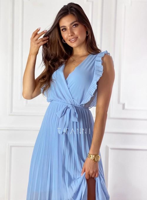 Długa plisowana sukienka Debra błękitna 1