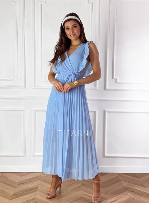 Długa plisowana sukienka Debra błękitna 2