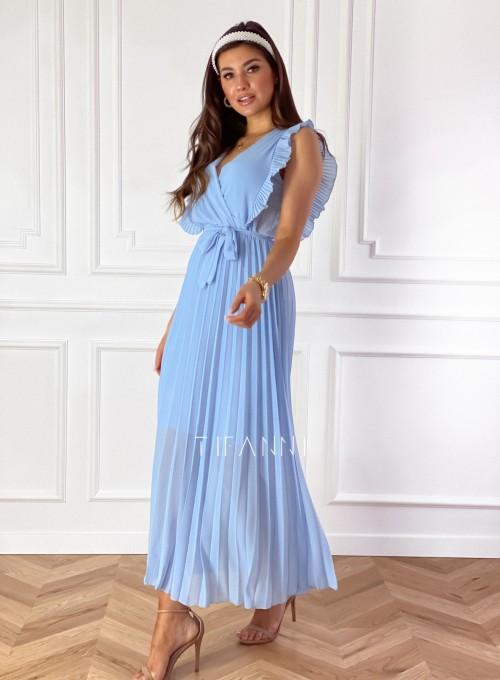 Długa plisowana sukienka Debra błękitna 3