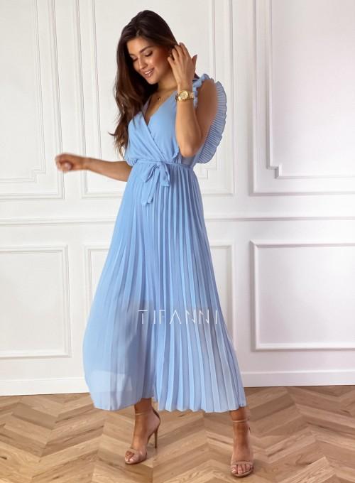 Długa plisowana sukienka Debra błękitna 4