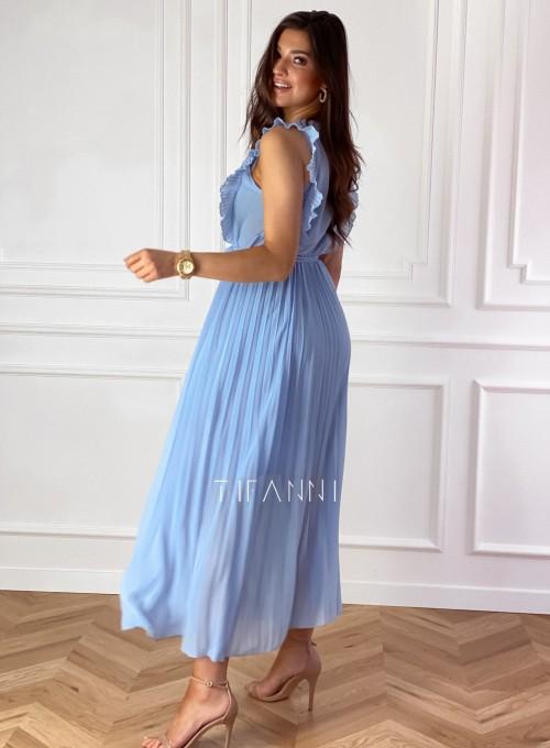 Długa plisowana sukienka Debra błękitna 5