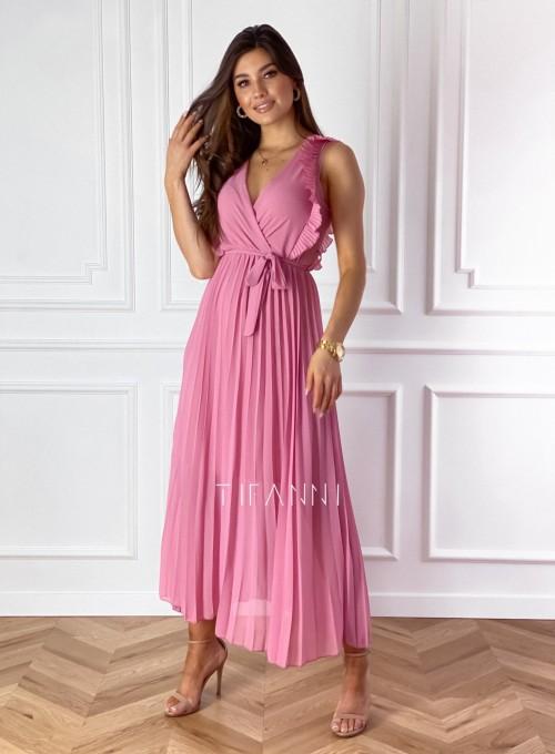 Długa plisowana sukienka Debra pink