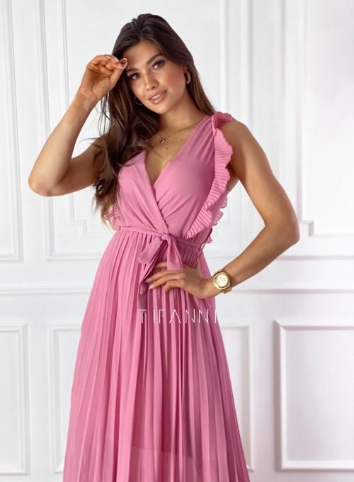 Długa plisowana sukienka Debra pink 1