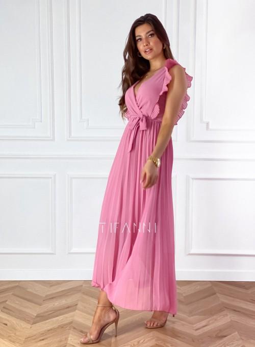 Długa plisowana sukienka Debra pink 5