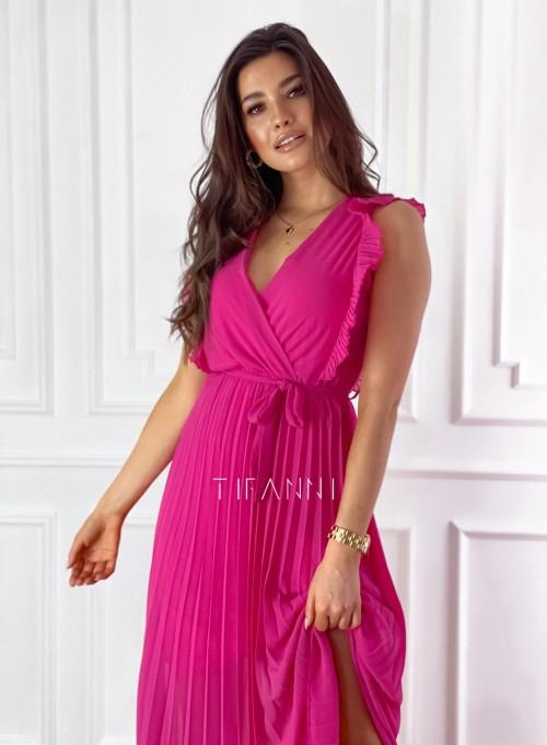Długa plisowana sukienka Debra fuksja 1