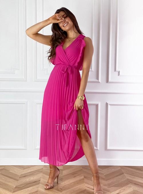 Długa plisowana sukienka Debra fuksja 2