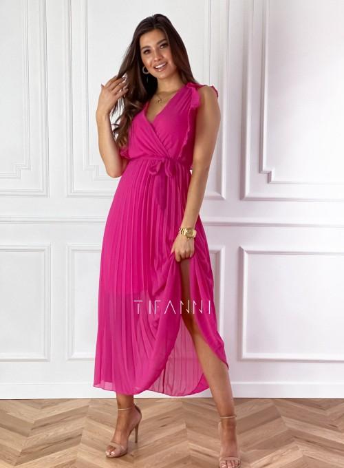 Długa plisowana sukienka Debra fuksja 3