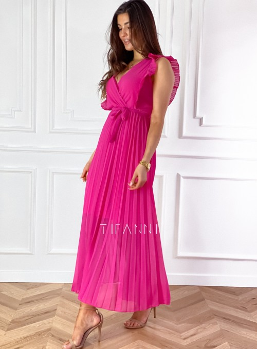 Długa plisowana sukienka Debra fuksja 4