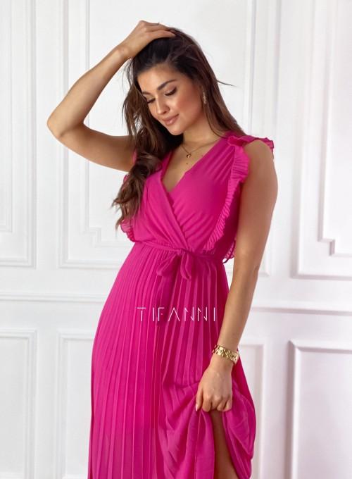 Długa plisowana sukienka Debra fuksja 6