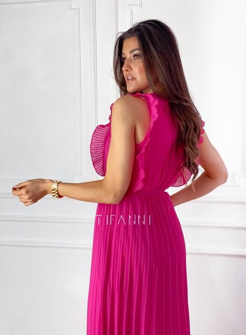Długa plisowana sukienka Debra fuksja 7