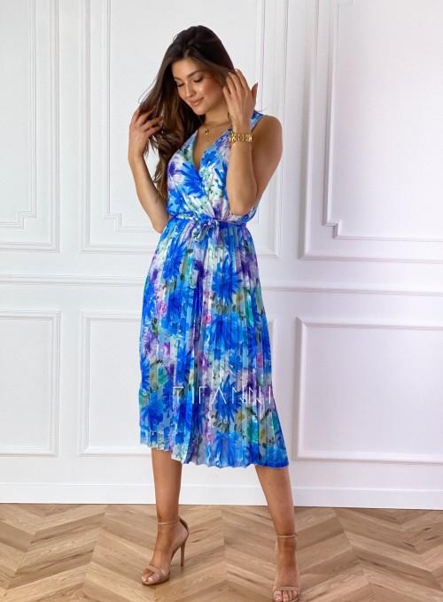 Sukienka w kwiatki wiązana Brera blue