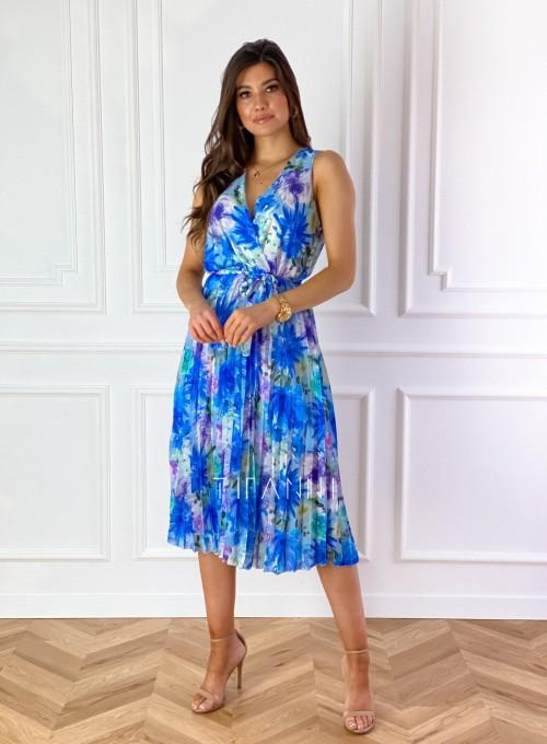 Sukienka w kwiatki wiązana Brera blue 2