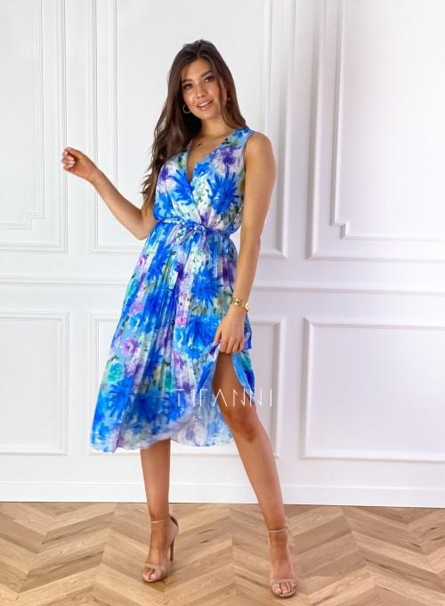 Sukienka w kwiatki wiązana Brera blue 3