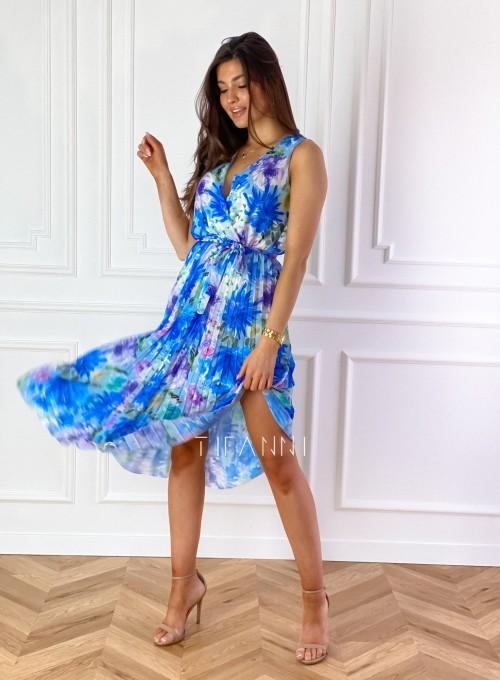 Sukienka w kwiatki wiązana Brera blue 4
