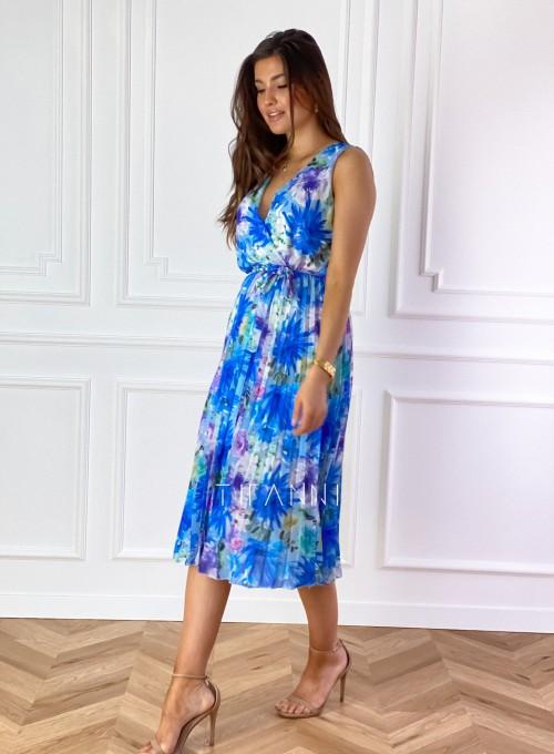 Sukienka w kwiatki wiązana Brera blue 5