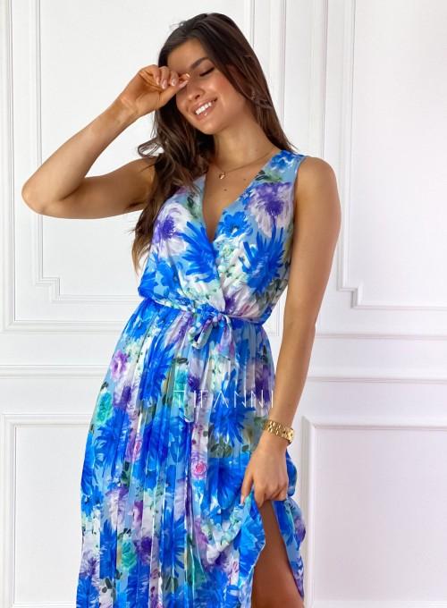 Sukienka w kwiatki wiązana Brera blue 1