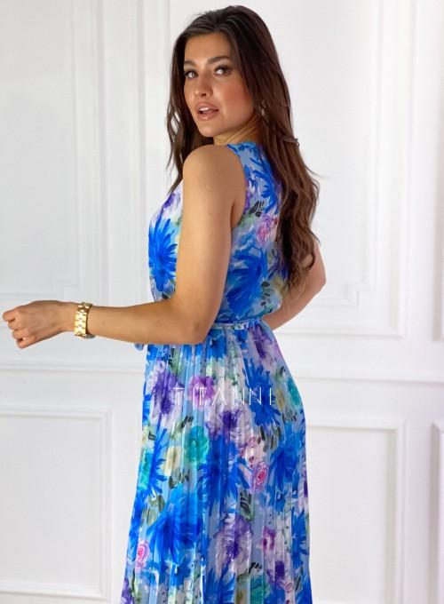 Sukienka w kwiatki wiązana Brera blue 7