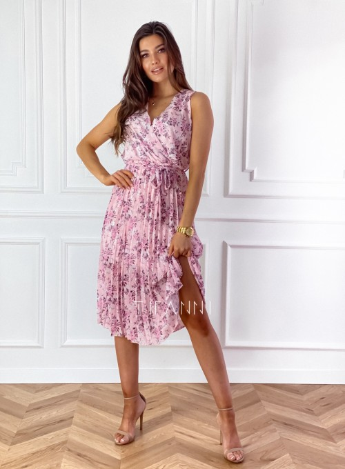 Sukienka w kwiatki wiązana Brera pudrowa