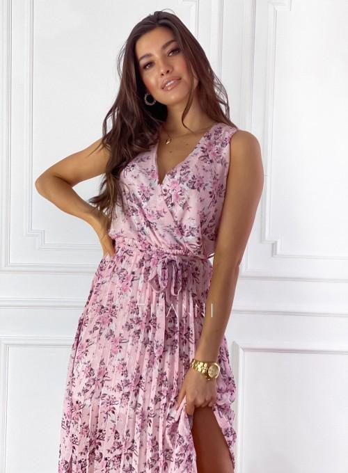 Sukienka w kwiatki wiązana Brera pudrowa 1