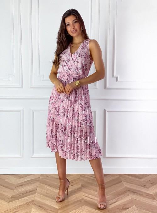 Sukienka w kwiatki wiązana Brera pudrowa 2