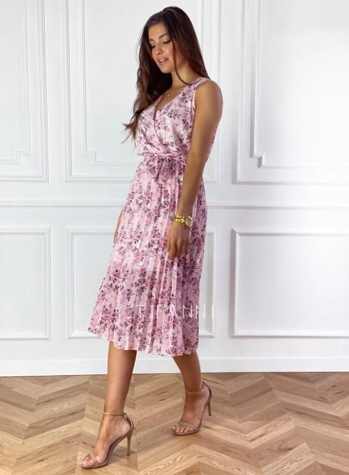 Sukienka w kwiatki wiązana Brera pudrowa 4