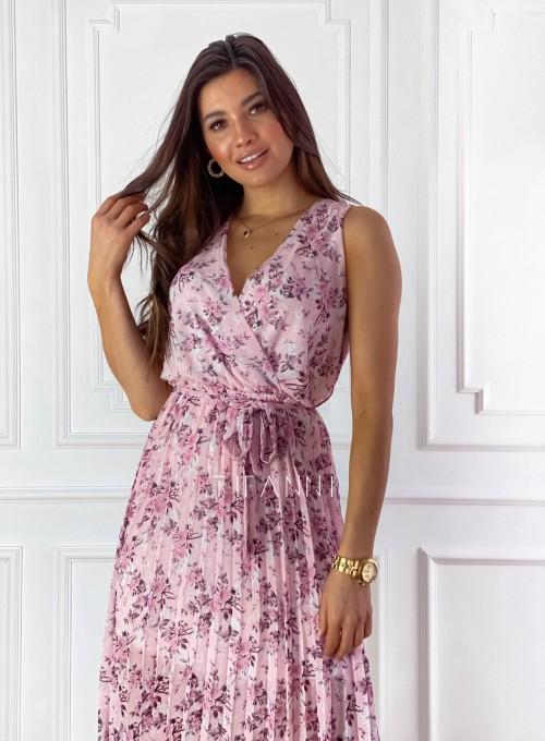 Sukienka w kwiatki wiązana Brera pudrowa 5
