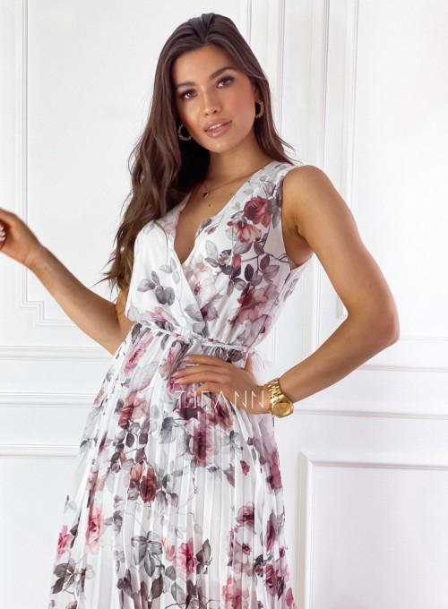 Sukienka w kwiatki wiązana Brera śmietankowa 1