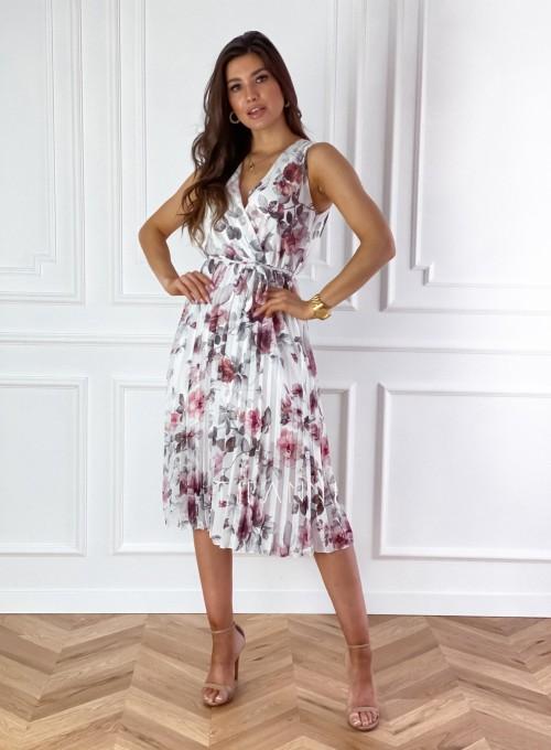 Sukienka w kwiatki wiązana Brera śmietankowa 2
