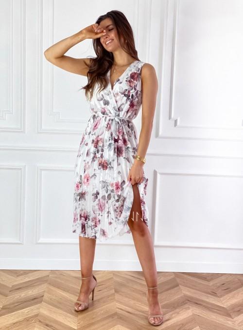 Sukienka w kwiatki wiązana Brera śmietankowa 3