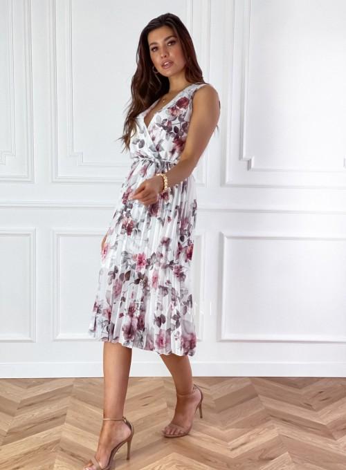 Sukienka w kwiatki wiązana Brera śmietankowa 4