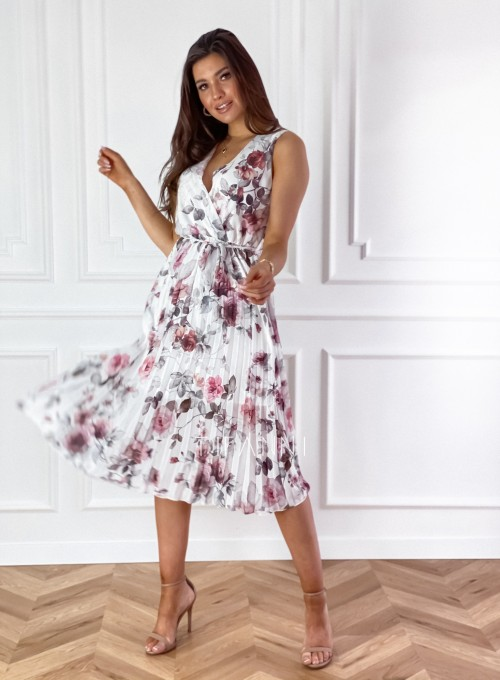 Sukienka w kwiatki wiązana Brera śmietankowa 5
