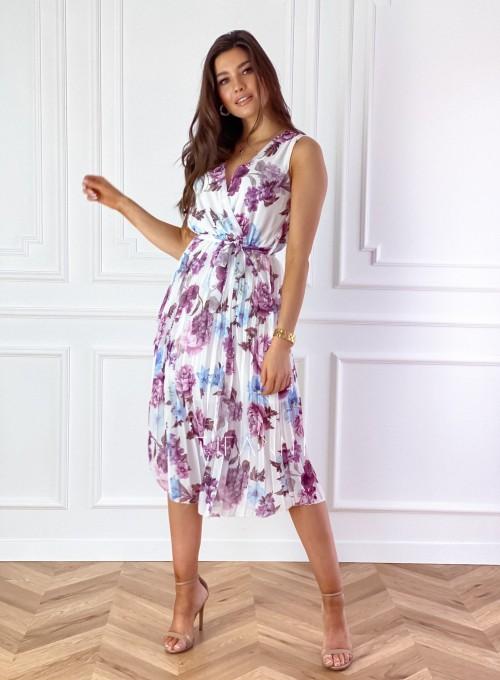 Sukienka w kwiatki wiązana Brera