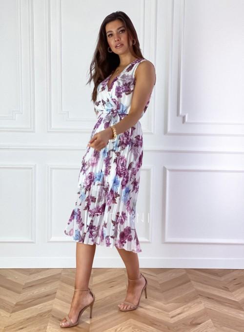 Sukienka w kwiatki wiązana Brera 2