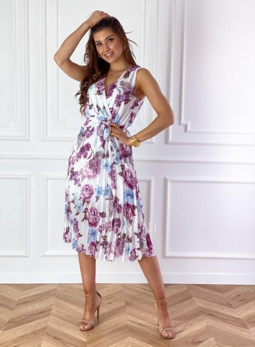 Sukienka w kwiatki wiązana Brera 4
