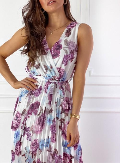 Sukienka w kwiatki wiązana Brera 6