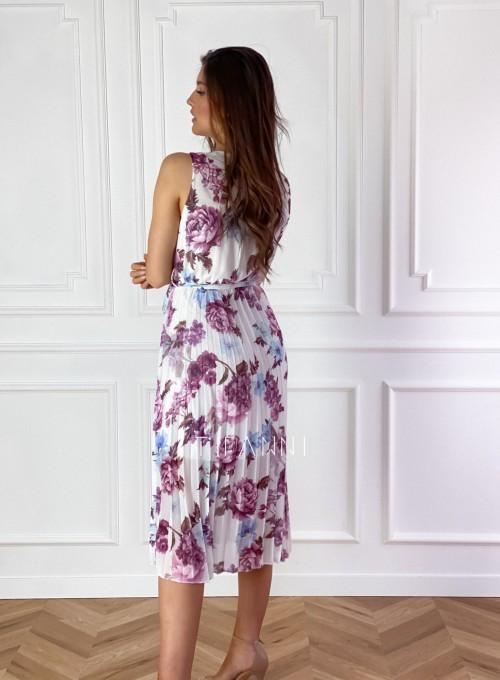 Sukienka w kwiatki wiązana Brera 7