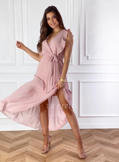 Długa plisowana sukienka Debra pudrowa