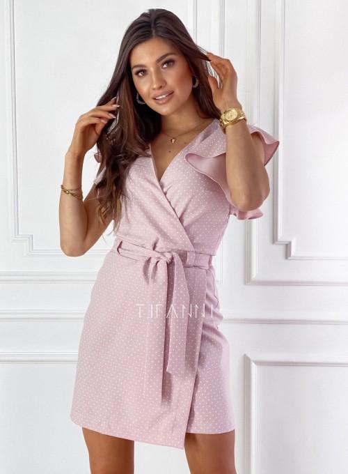 Elegancka sukienka Cristi pudrowa w jasne groszki