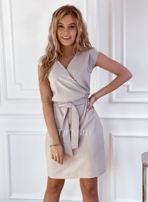 Elegancka sukienka Alexia beżowa