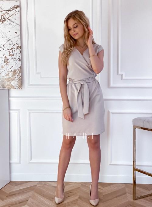 Elegancka sukienka Alexia beżowa 1