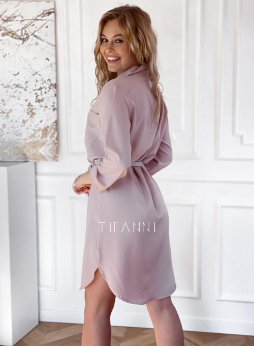 Sukienka wiązana w pasie Vobis beżowa 3
