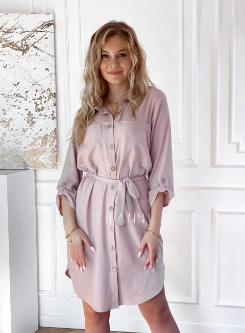 Sukienka wiązana w pasie Vobis beżowa 4