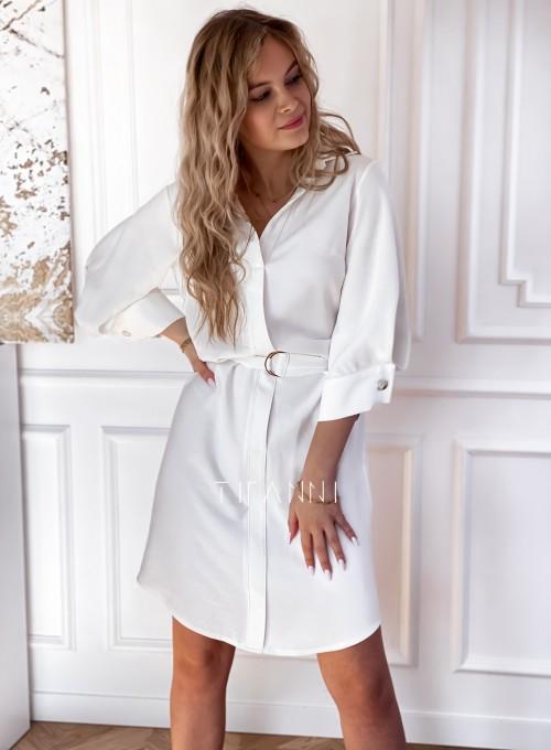 Sukienka z paskiem Brilante śmietankowa 5