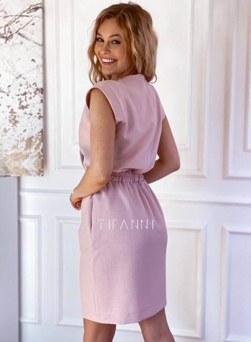 Elegancka sukienka Alexia pudrowa 2