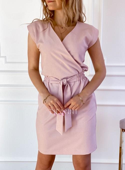 Elegancka sukienka Alexia pudrowa 3