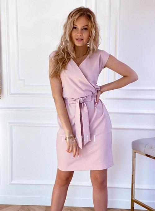 Elegancka sukienka Alexia pudrowa 4